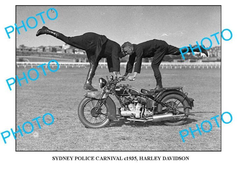 OLD 8x6 PHOTO OF SYDNEY POLICE CARNIVAL HARLEY DAVIDSON MOTORCYCLE c1935 3