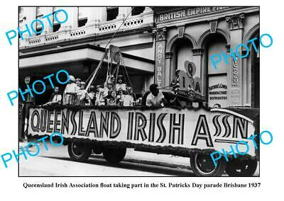 OLD 8x6 PHOTO, QUEENSLAND IRISH ASSOC FLOAT, St PATRICKS DAY, BRISBANE c1937