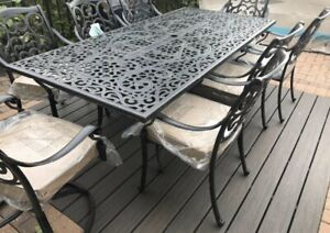 Brand new wrought aluminum patio set dining table 8 chairs