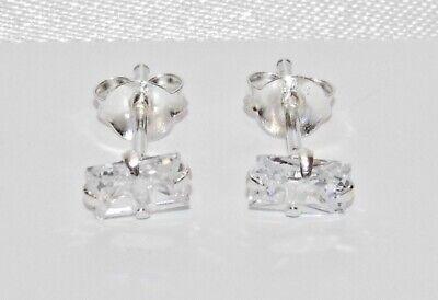Sterling Silver Cubic Zirconia Emerald Cut Single Earrings - Real 925 Silver