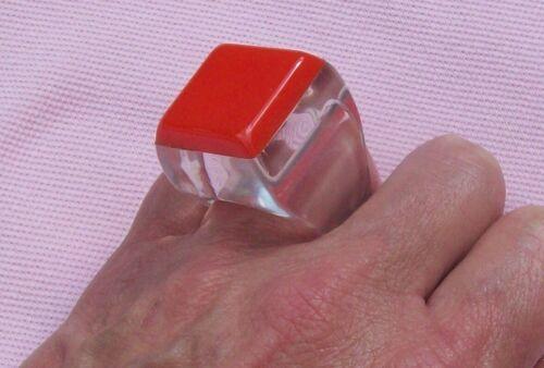 Vintage 60s 70s Mod Modern Runway Big Orange BAKELITE Lucite Square Knuckle Ring