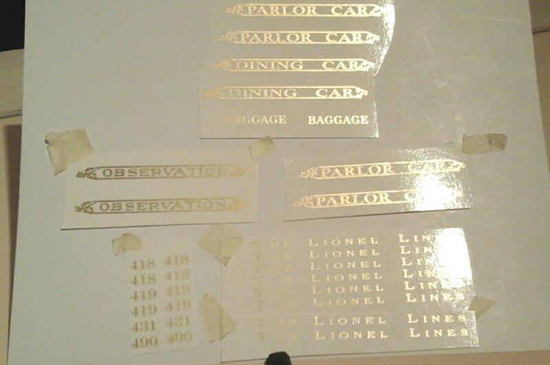 LIONEL PRE-WAR STANDARD SCALE GOLD METALLIC WATER DECAL 418-419-431-490 W/SERIF