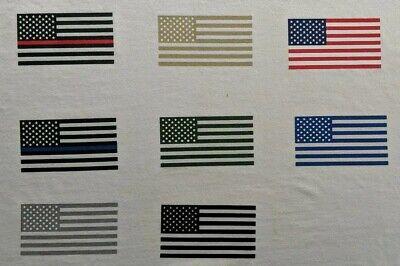 "American Flag iron-on heat transfer decal 3.5""x2"" regular/reverse black/colors"