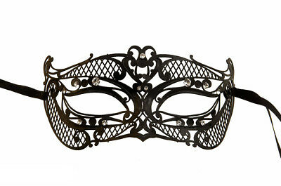 Mask from Venice His Venetian Lace Metal Black with Diamante 1003