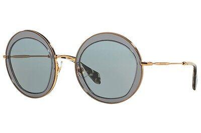 MIU MIU NOIR Women Sunglasses SMU 50Q Round Grey Acetate Rose Gold MU50QS (Miu Miu Acetate Sunglasses)
