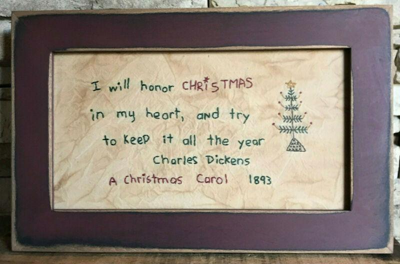 """Vintage ORIGINAL FOLK ART/PRIMITIVE CHRISTMAS """"Charles Dickens"""" STITCHED SAMPLER"""