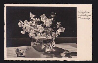 Herzliche Wünsche zum Namenstage Sincere wishes for ?? flowers in vase Post Card