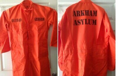 CUSTOM PRINTED Jail Inmate Prisoner Orange Jumpsuit Costume Halloween HI QUALITY