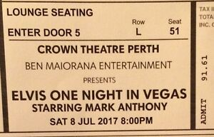 2 tickets to ELVIS ONE NIGHT IN VEGAS Balga Stirling Area Preview