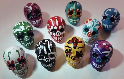 Peruvian Ceramic Small Bright Skull Focal Bead Yellow Red Green Blue DIY Charm