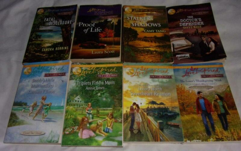 HUGE set of 8 Love Inspired TRUE LARGE PRINT books