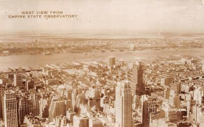 Rppc West View Empire State Building New York Real Photo Postcard  1940S