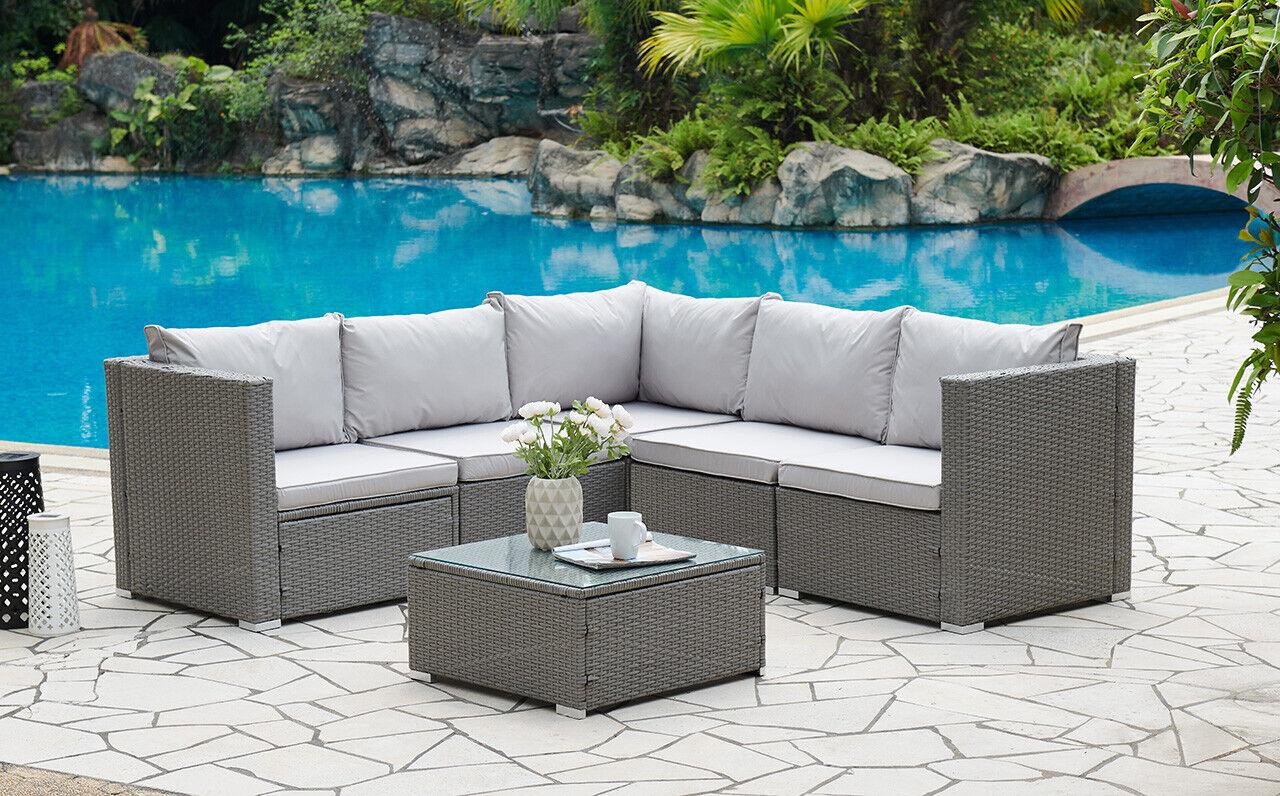 Garden Furniture - Corner Rattan Sofa Set Outdoor Garden Furniture Black Brown Grey With Cover