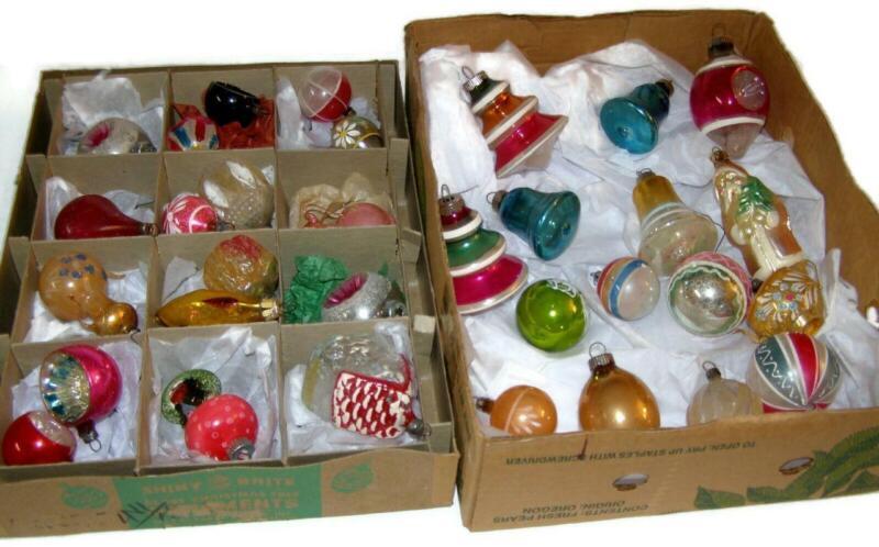 Antique Vintage Mixed Lot Mercury Glass Christmas Ornaments Czech Poland Etc