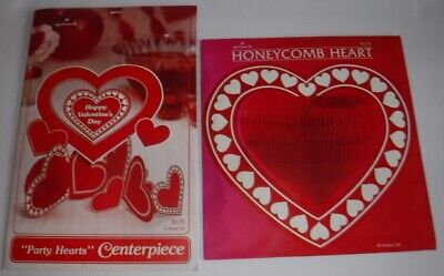 Vintage 1981 Lot of 2 Hallmark Honeycomb Valentine Heart Decorations - Honeycomb Heart Decorations