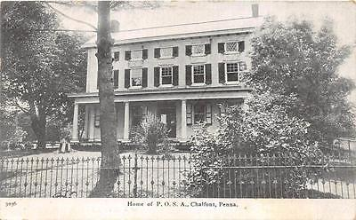 For sale HOME OF P.O.S.A. CHALFONT PENNSYLVANIA PATRIOTIC POSTCARD (c. 1910)