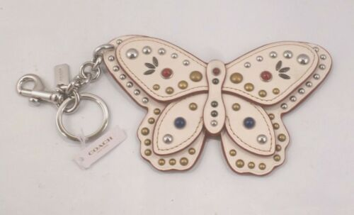 NWT COACH LARGE BUTTERFLY CHALK STUDDED APPLIQUE BAG CHARM KEY CHAIN RING 58996