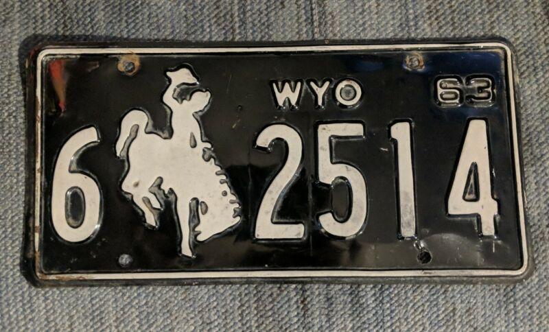 Original 1963 Wyoming License Plate
