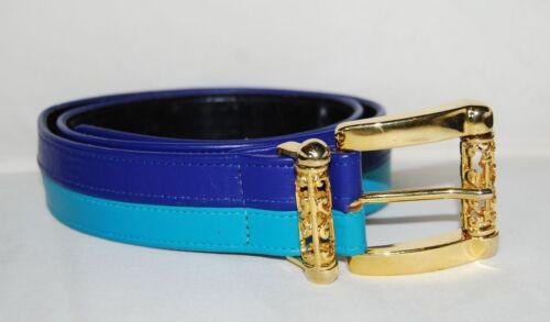 Vintage MCM Belt 2 Tone Blue Teal Gold Filigree Belt Buckle Leather SZ S 27 -30