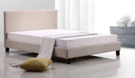 Queen Linen Fabric Bed Frame Beige