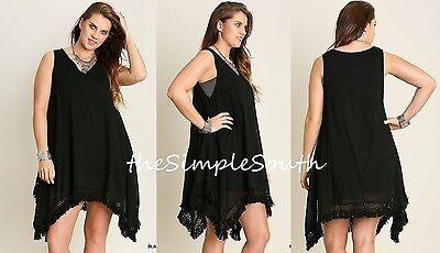 New UMGEE Black Crinkle Gauze Macrame Fringe Ruffle Hem Boho Tunic Tank Dress XL Crinkle Tank Dress