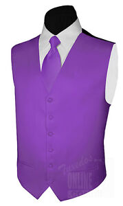 New Mens Satin PLUM Tuxedo Vest and Necktie 3XL