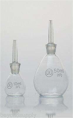 Lab Glass Specific Gravity Bottle Determination Pycnometer 50ml New
