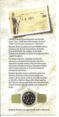 khaki By Hamilton 10 Single Pages Brochure With Price List From Mid 1990's