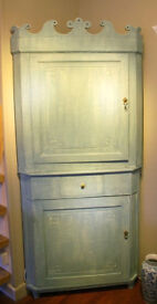 Old Painted corner cupboard which is in two parts