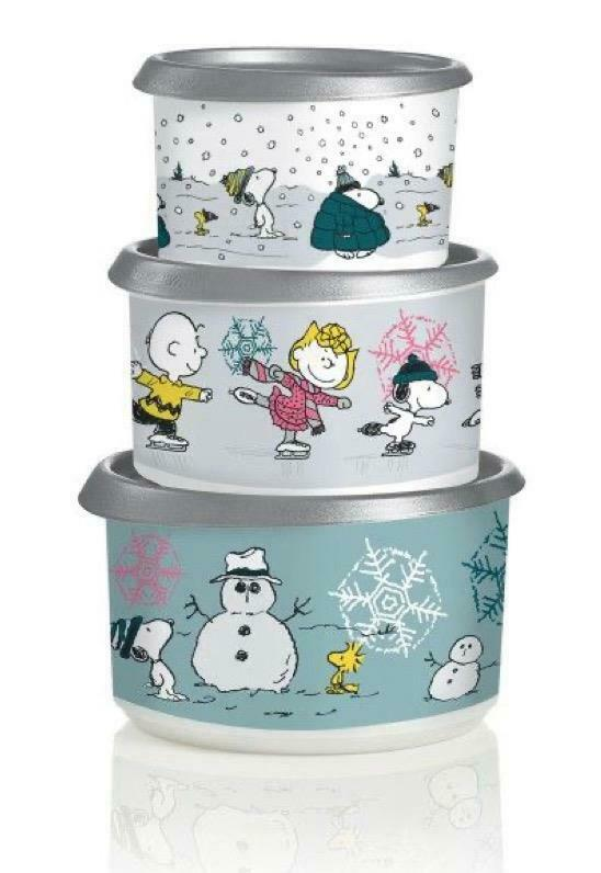 NEW Tupperware 3-Piece Peanuts Holiday Canister Set Charlie Brown Snoopy