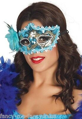 Teal Masquerade Dresses (Ladies Teal Sequin Flower Masquerade Ball Carnival Eye Mask Fancy Dress)