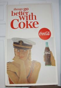 Vintage 1960's Things Go Better with Coke Cardboard Ad Sign
