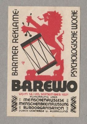 Modernist Poster Stamp BAREWO Pyschology Week 1927 Graphic Design Typography