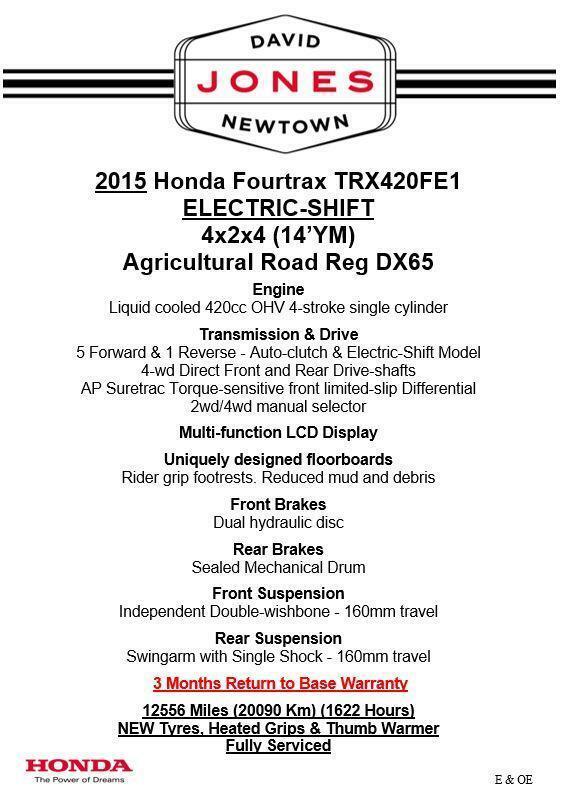 2015 HONDA TRX420ES FE FOURTRAX 4x4 QUAD ATV FOUR WHEELER DX65 AGRI ROAD REG