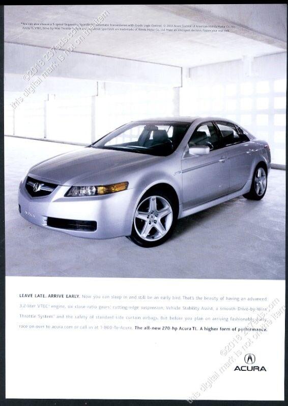 2004 Acura TL silver car photo vintage print ad