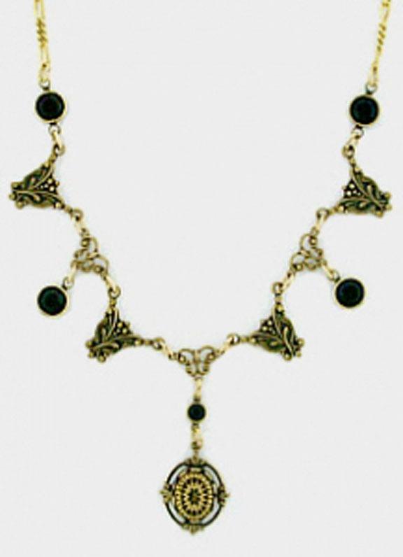 24k Gold Plated Art Deco Vintage Intaglio & Black Austrian Crystal Necklace