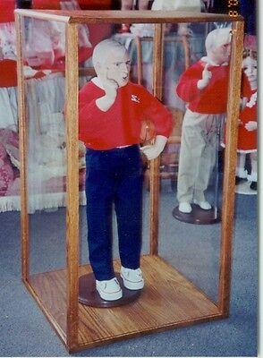 solid oak 7x 7 x 16 inch doll case display