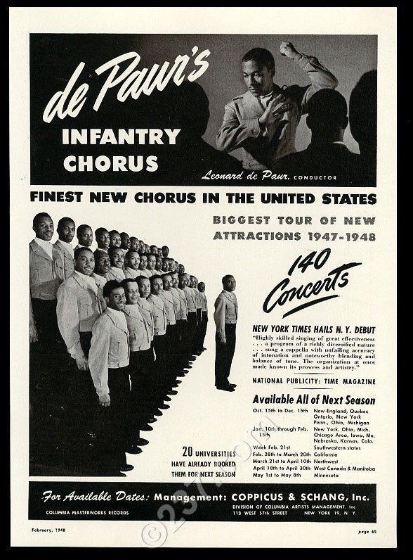 1948 Leonard de Paur Infantry Chorus photo recital tour booking trade print ad