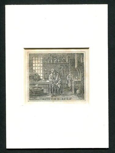 1842 Antique Print of a Chemist  Chemistry Laboratory - The Chemist