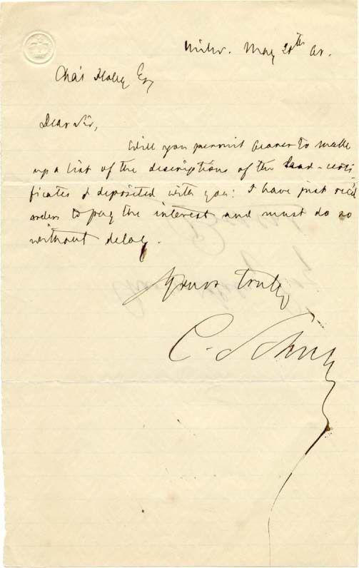 U.S. Senator/Civil War General Carl Schurz writes of lead certificates