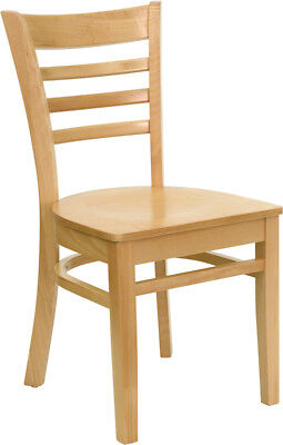 Wood Frame Natural Finish Ladder Back Restaurant Chair W Matching Wood Seat