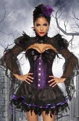 Kostüm Hexe Corsage + Rock Korsett Burlesque Karneval violett / schwarz Gr. - Schwarz Burlesque Kostüm