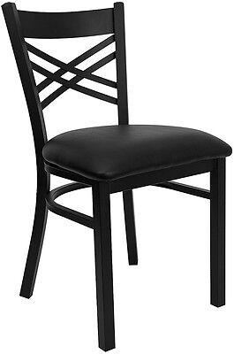 Restaurant Metal Dining Chairs Black Vinyl Padded Seat Lifetime Frame Warranty