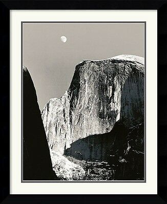 """Ansel Adams, """"Moon and Half Dome"""" Framed art, Double matting Approx. 29x33"""