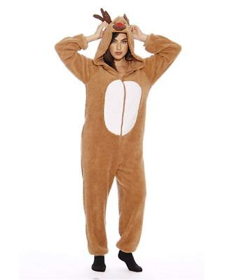 Adult Christmas Bodysuit for Women Sherpa One-Piece Pajamas - Reindeer - Size XL