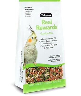 Zupreem REAL REWARDS GARDEN MIX MEDIUM BIRD TREATS cockatiel keet food 6oz