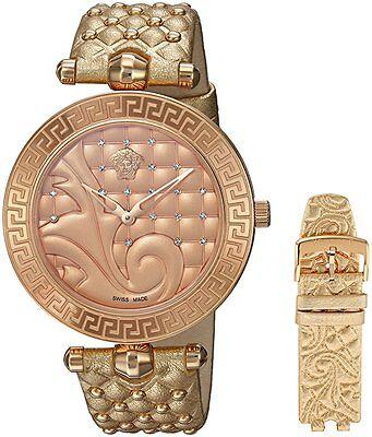 Versace Women's VK7190014 VANITAS Gold IP Gold Leather 2 Bands DIAMONDS Watch