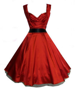 New-Glamorous-1950s-Sweetheart-Red-Silky-Party-Prom-Cocktail-Dress-8-18