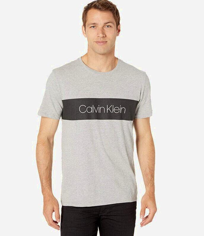 NEW Calvin Klein Mens Block Logo Crewneck TShirt Light Grey Choose a Size