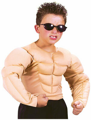 Kid Boxer Halloween Costumes (Child Muscle Shirt Halloween Hero Boxer Wrestler 6 Pack Kids Fighter Costume)